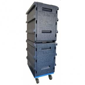 Pack 2 Coffres Isothermes 8 niveaux GN1/1 BLEU + 1 embase roulante