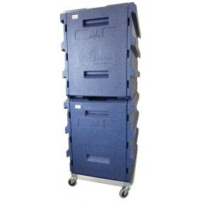 Pack 2 Coffres Isotherme 8 niveaux GN1/1 BLEU + 1 embase roulante